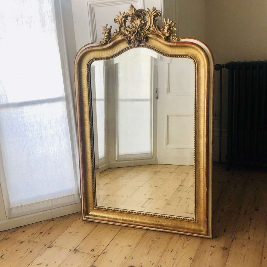 19th century antique French Louis XV gilt mirror - bevelled glass