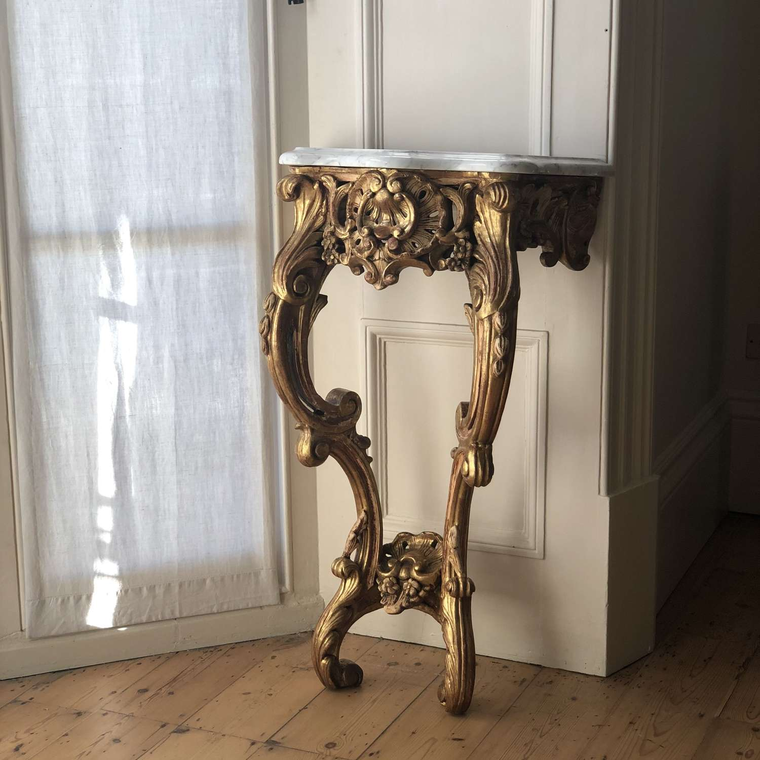19th century antique French gilt and marble Louis XV console table