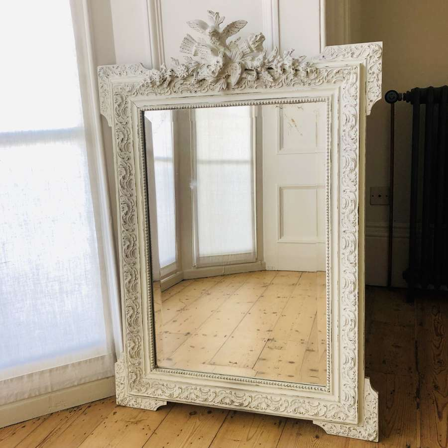 Antique French 19th century Louis XV painted mirror