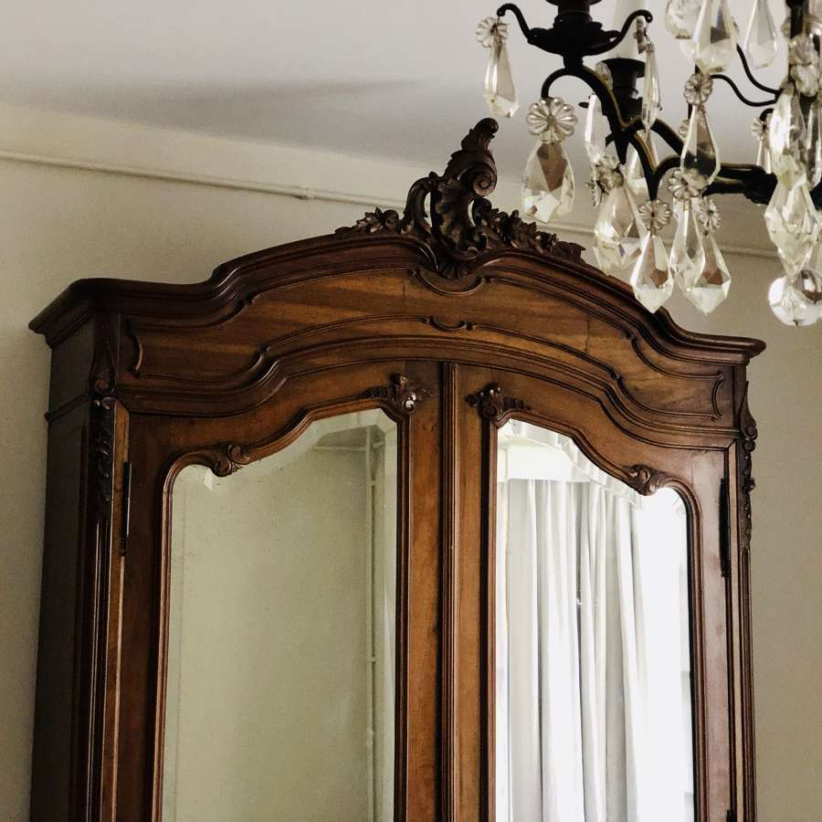 Antique French Louis XV mirrored armoire linen press
