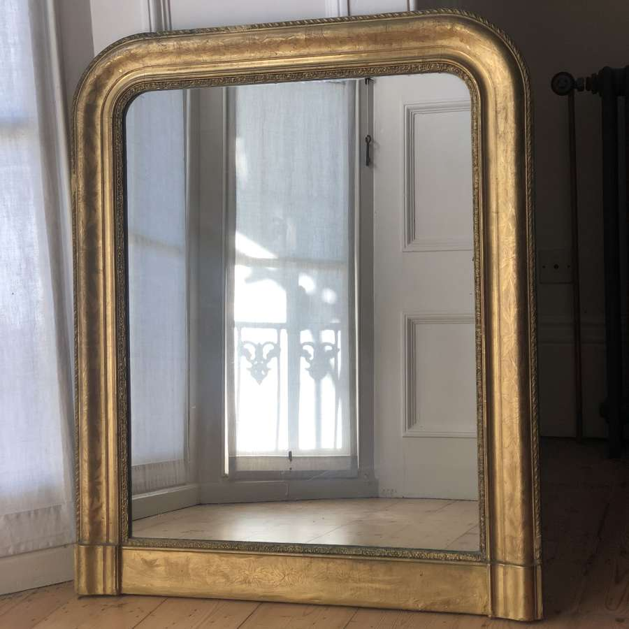 Antique French gilt Louis Philippe mirror c1860 - mercury glass