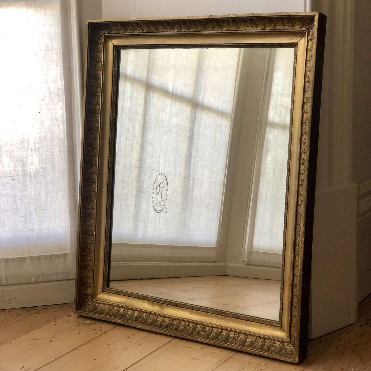 Antique French gilt Empire mirror c1810 - mercury glass
