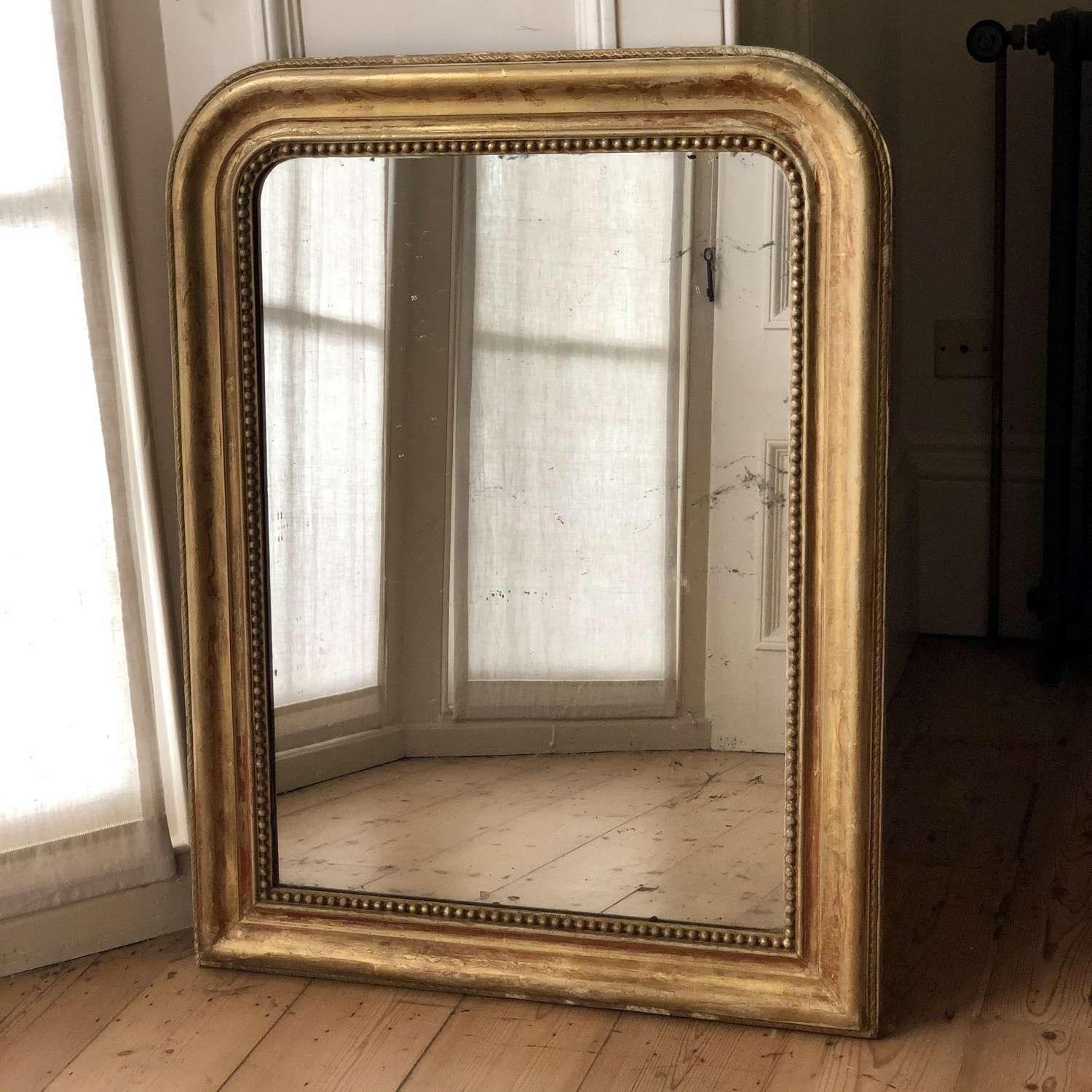 Antique French gilt Louis Philippe mirror - foxed mercury glass