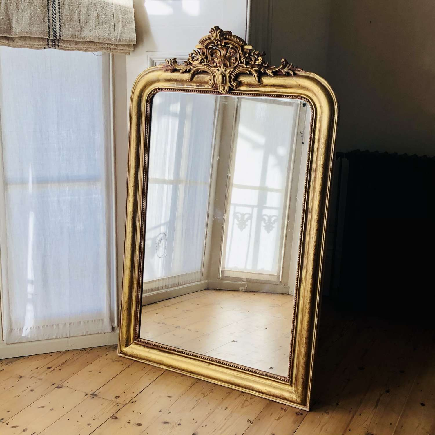 Large antique French gilt Louis XV mirror
