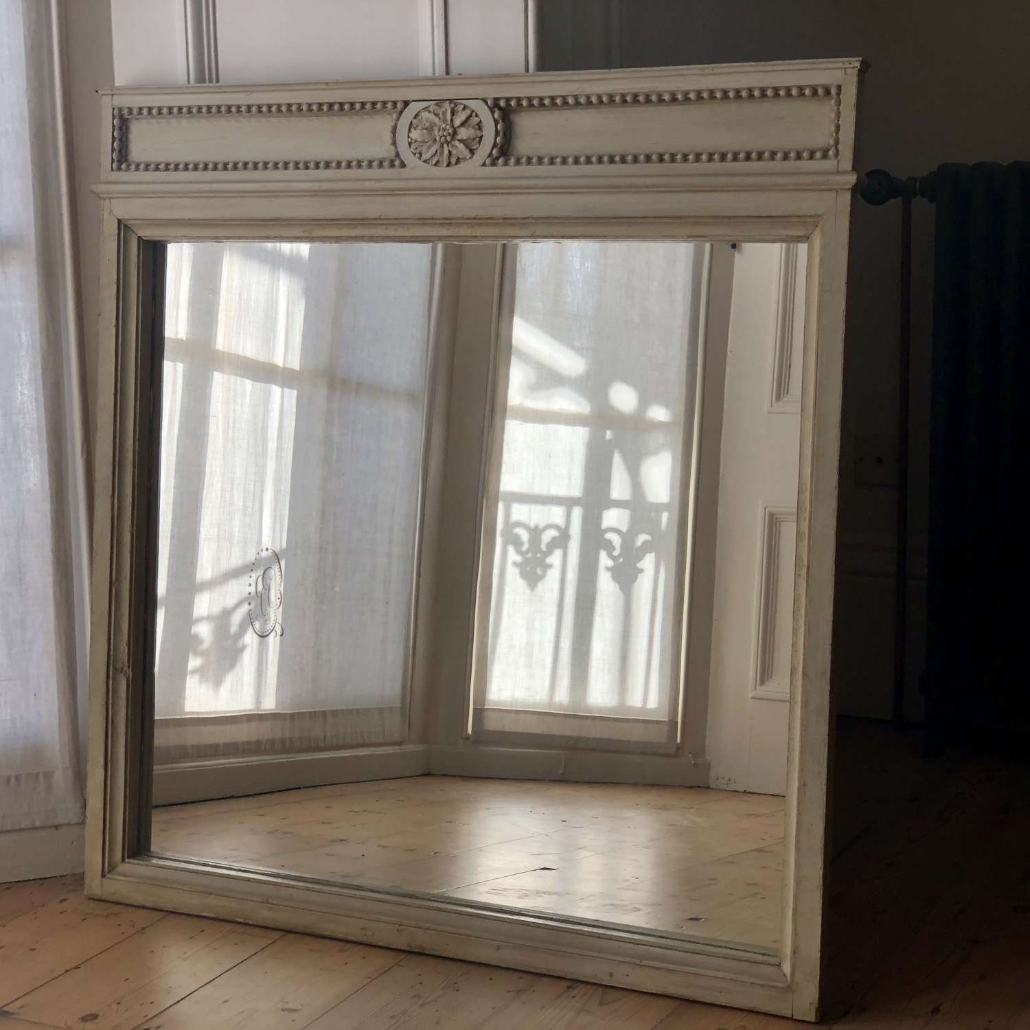 Antique French painted mirror - original paint