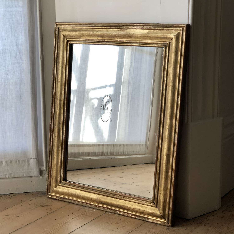 Antique French gilt rectangular mirror