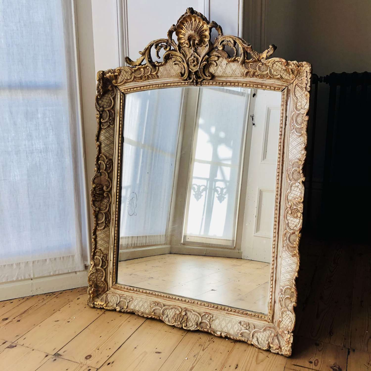 Antique French gilt and gesso Louis XV mirror