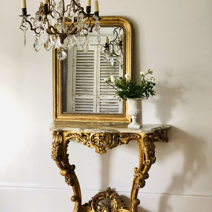 Antique French gilt and marble console table c1880