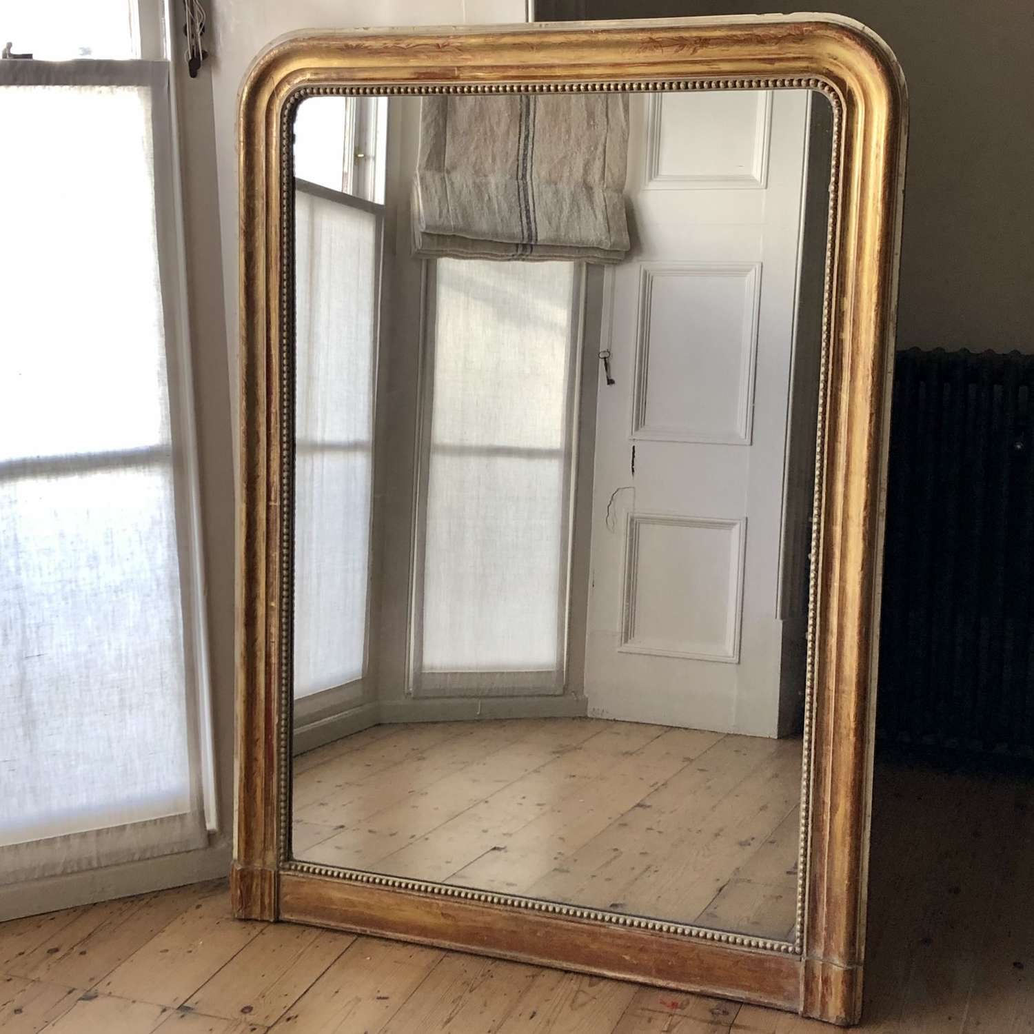 Antique French gilt Louis Philippe overmantel mirror c1850