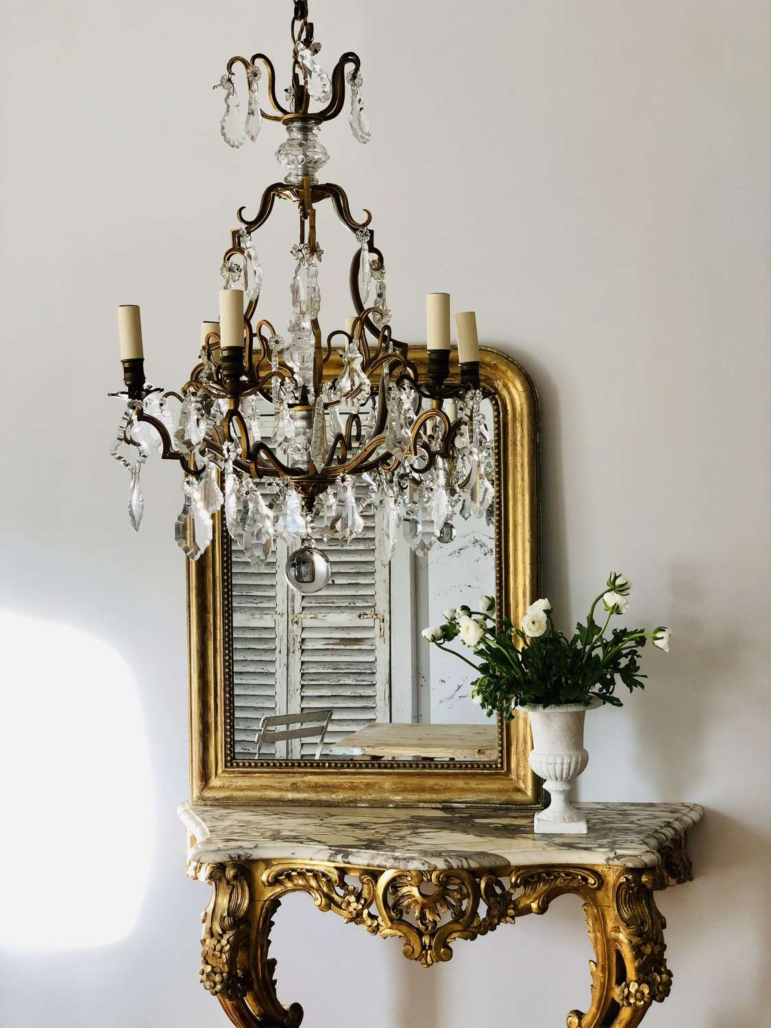 Large antique French crystal cage chandelier - rewired