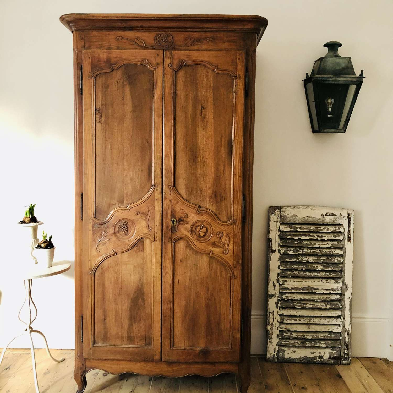 Antique French walnut armoire wardrobe with hanging rail