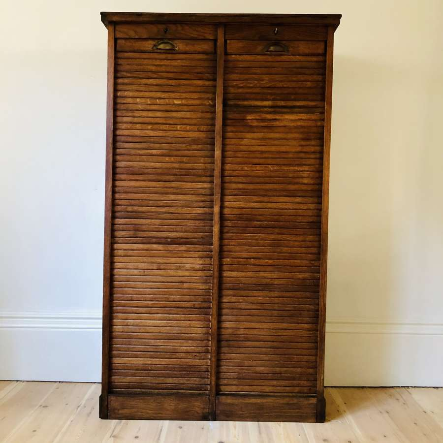 Antique French oak double tambour filing cabinet