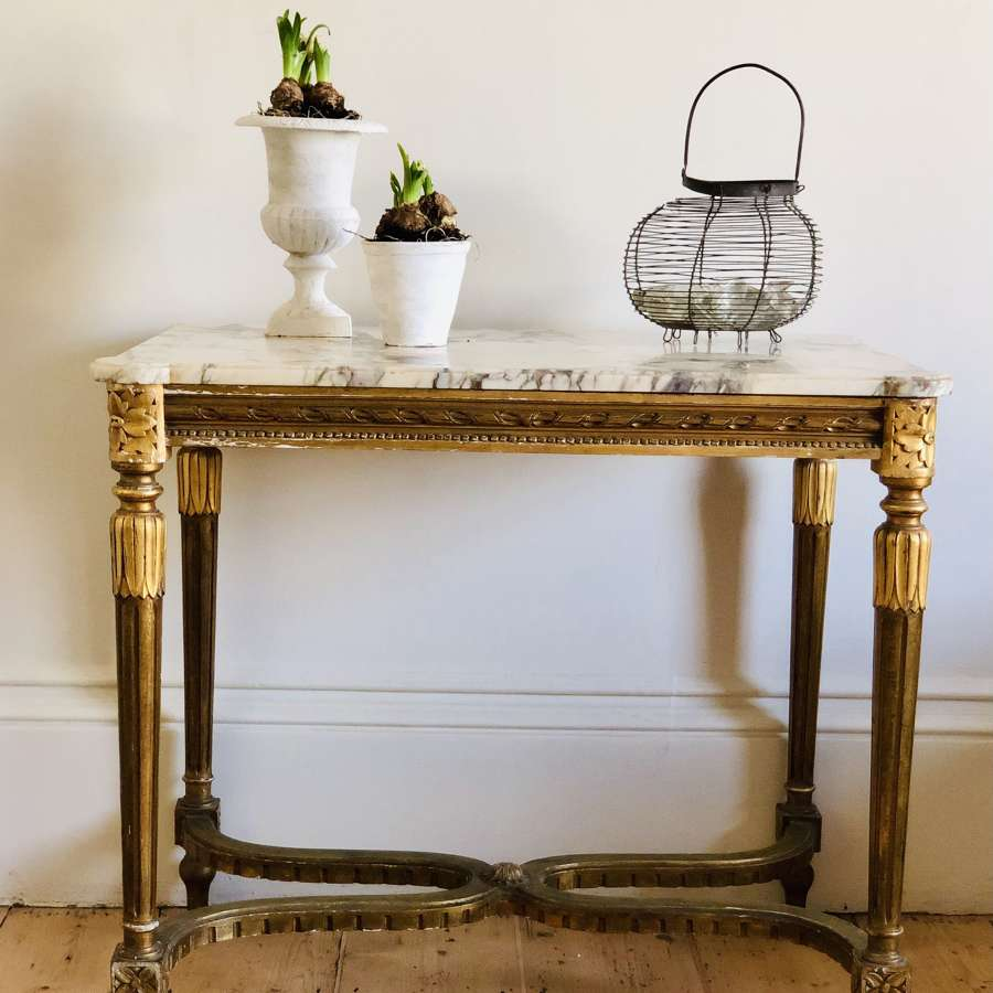 Antique French Louis XVI gilt and marble occasional table