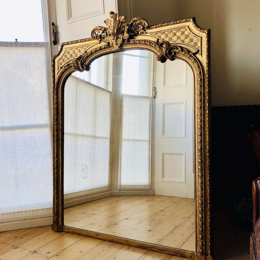 Antique French gilt leaner overmantel mirror