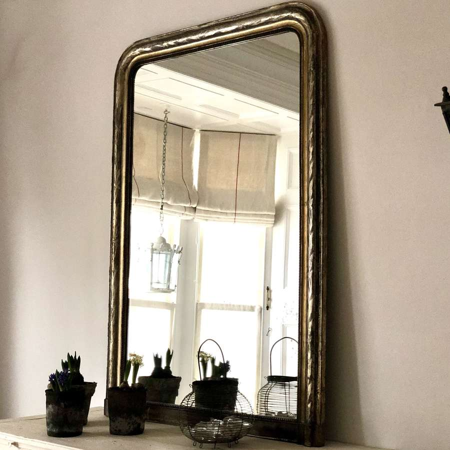 Antique French silver gilt Louis Philippe mirror