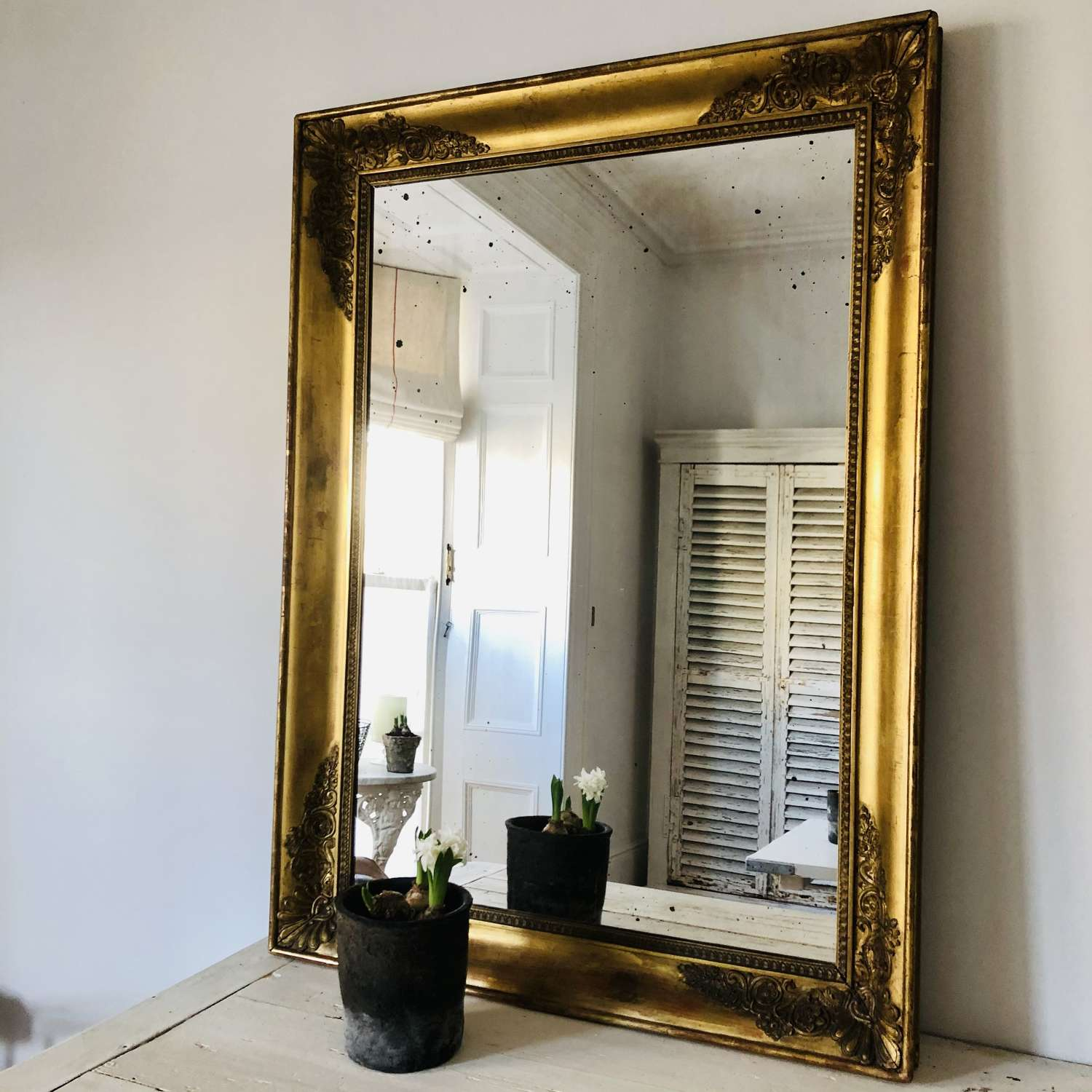 Antique French gilt rectangular mirror