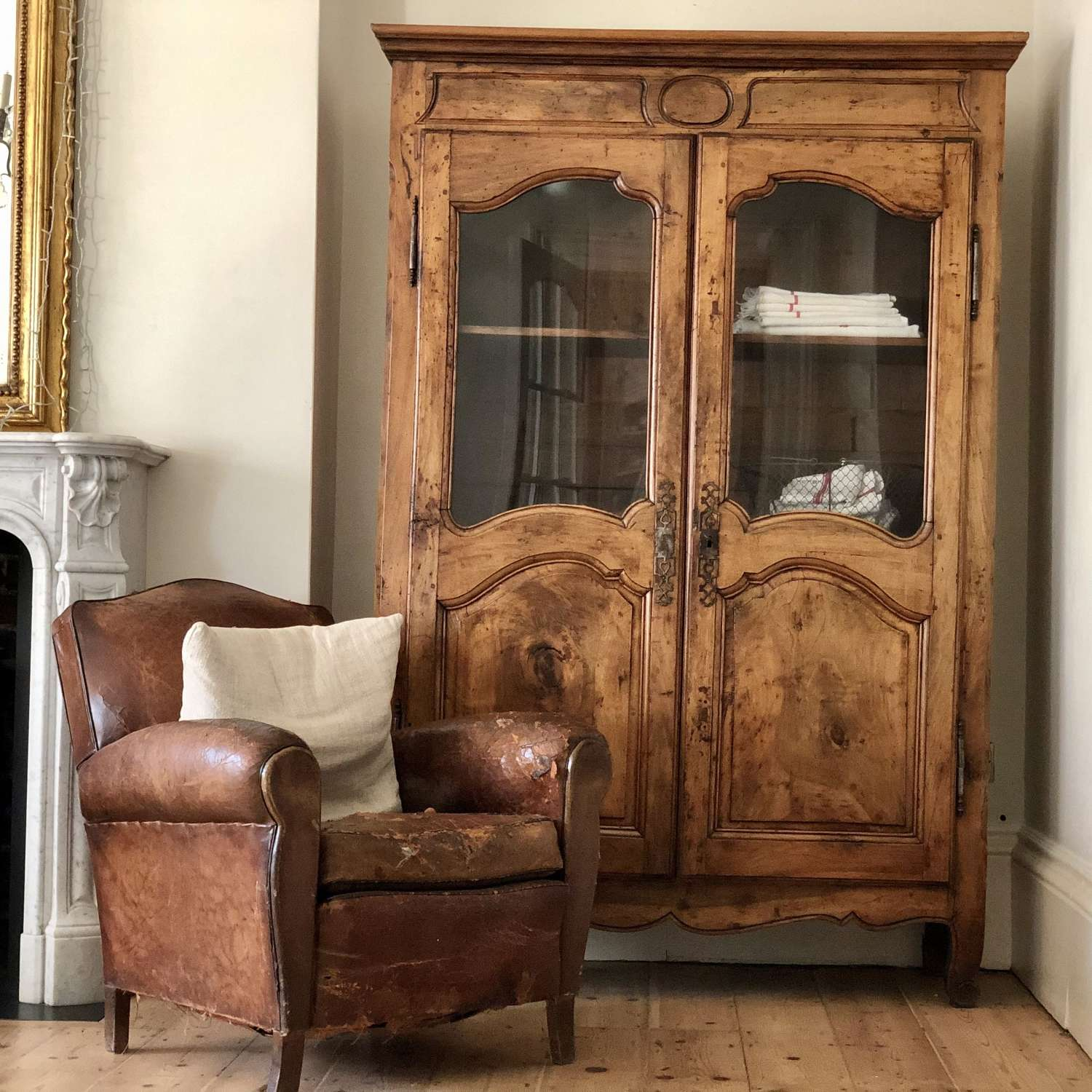 Antique French glazed display cabinet