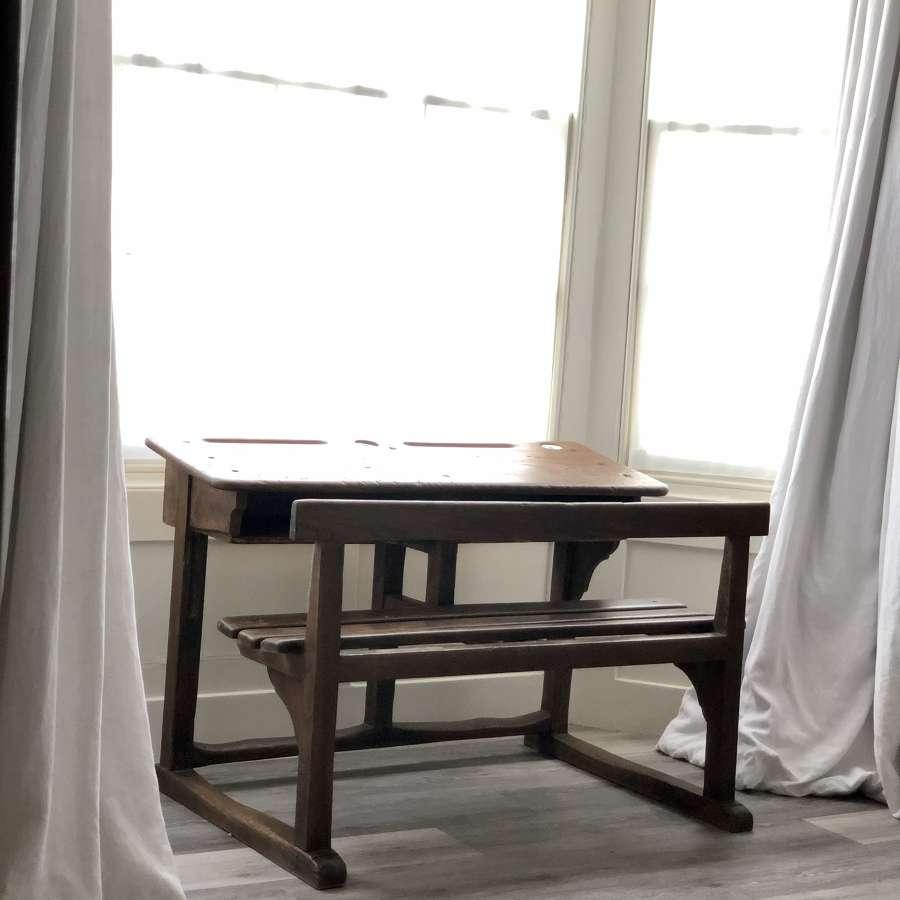 Antique French oak school desk