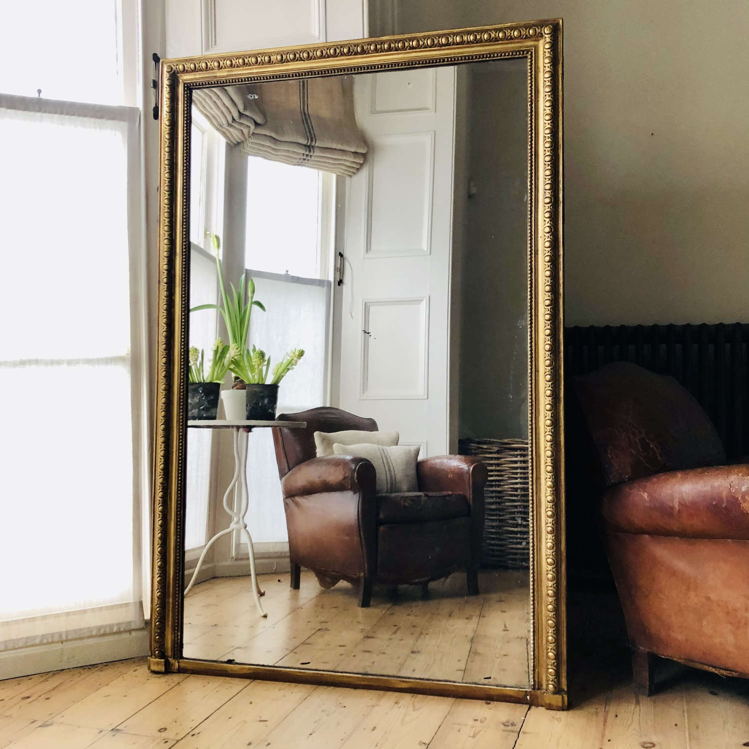 19th century French gilt leaner mirror overmantel