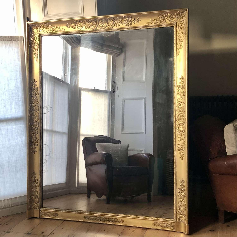19th century French antique gilt Empire mirror c1830
