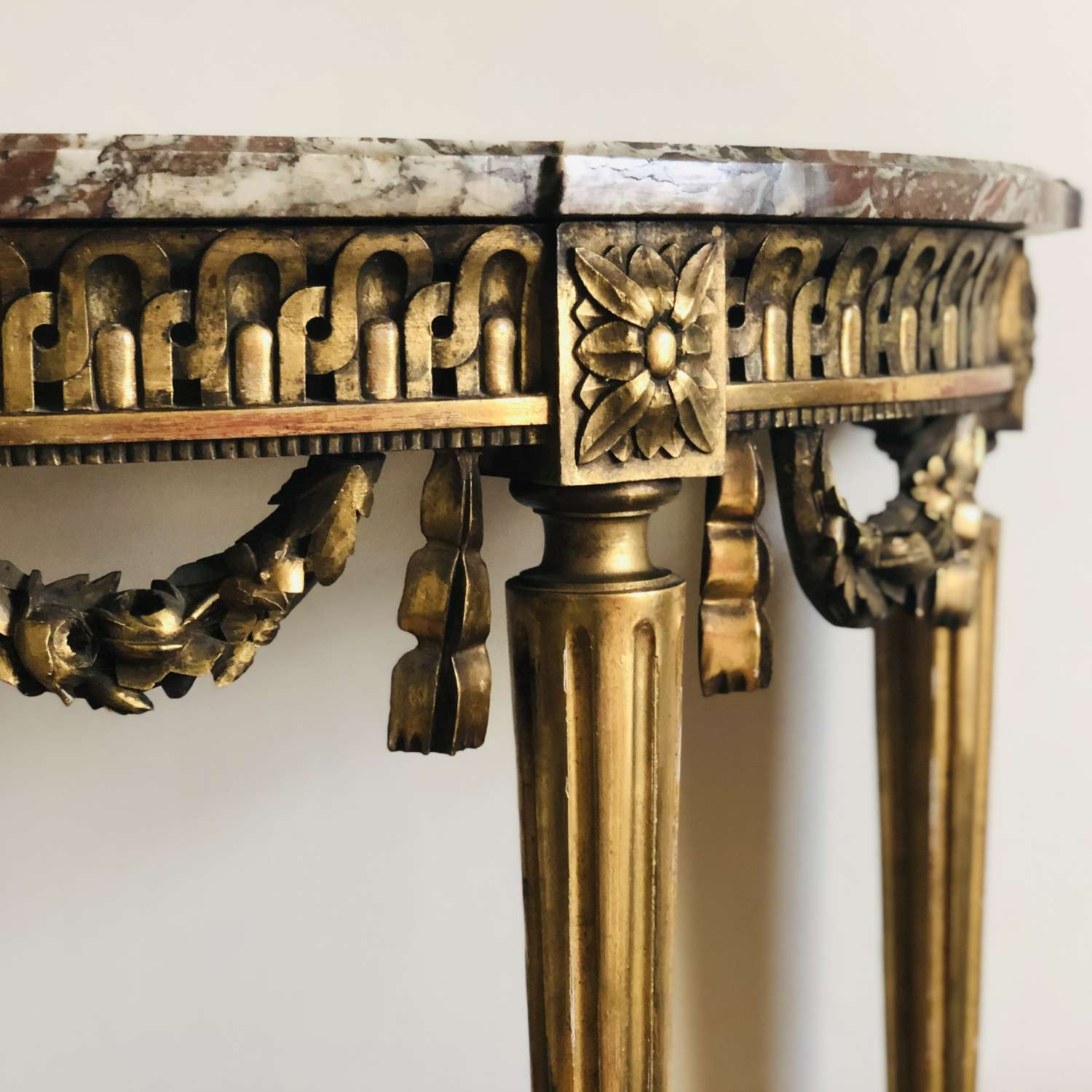 19th century French gilt and marble console table