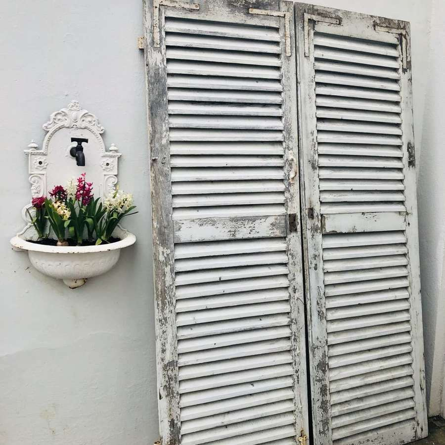 Large antique French oak painted shutters