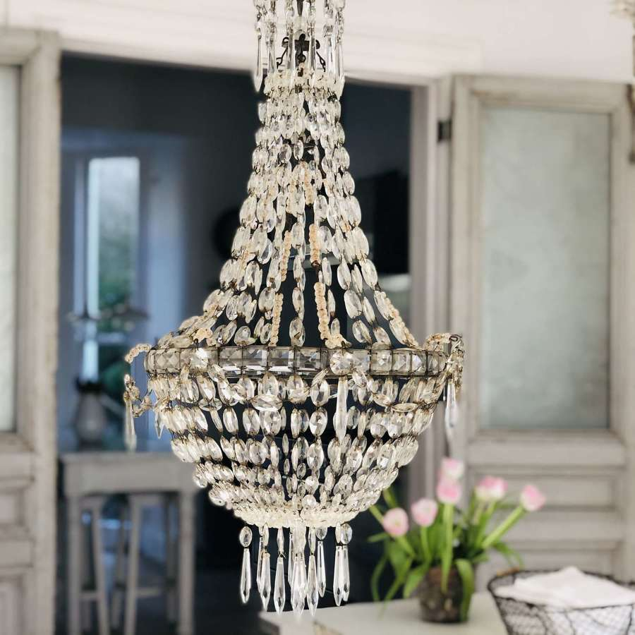 Large antique French crystal bag chandelier