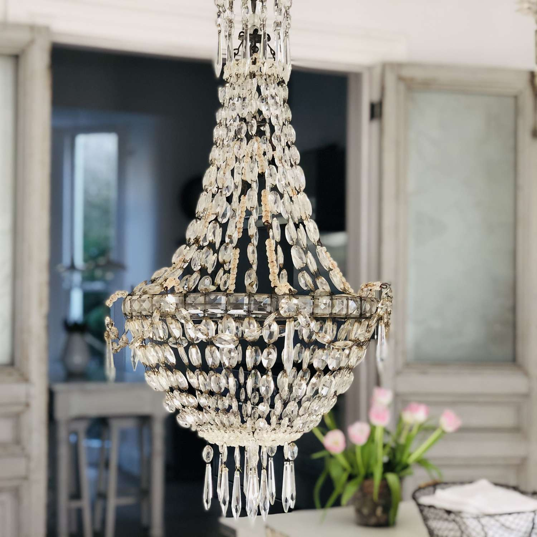 Large antique French crystal bag chandelier
