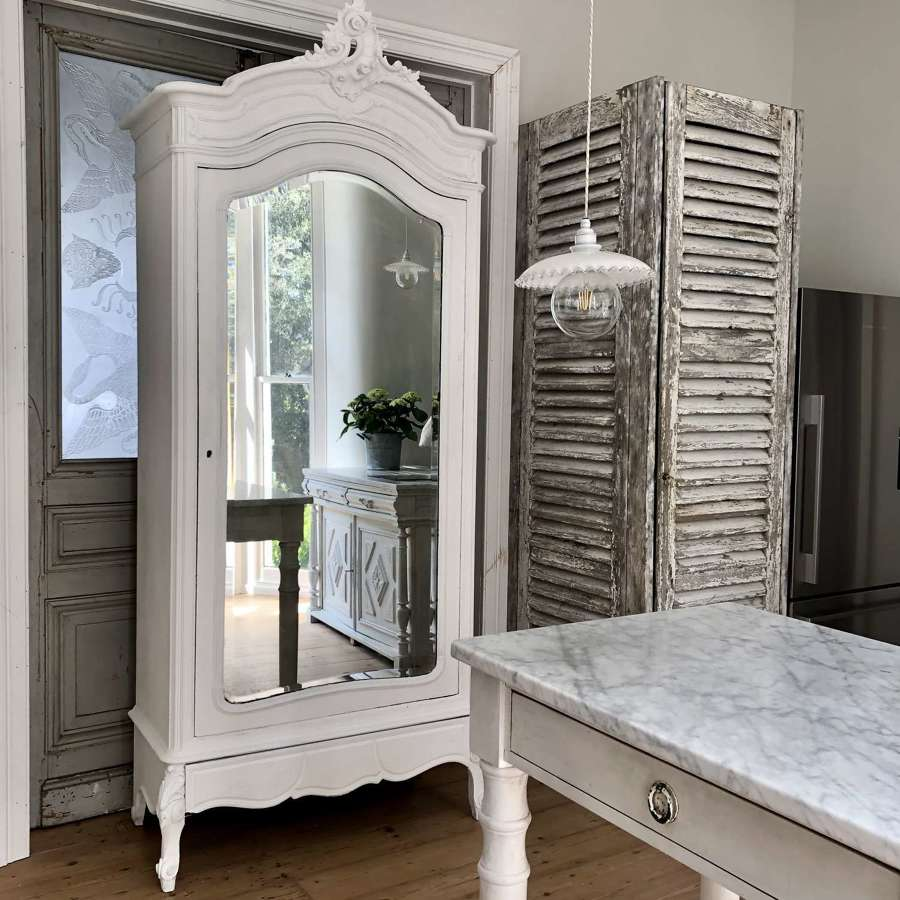 Antique French Louis XV painted armoire