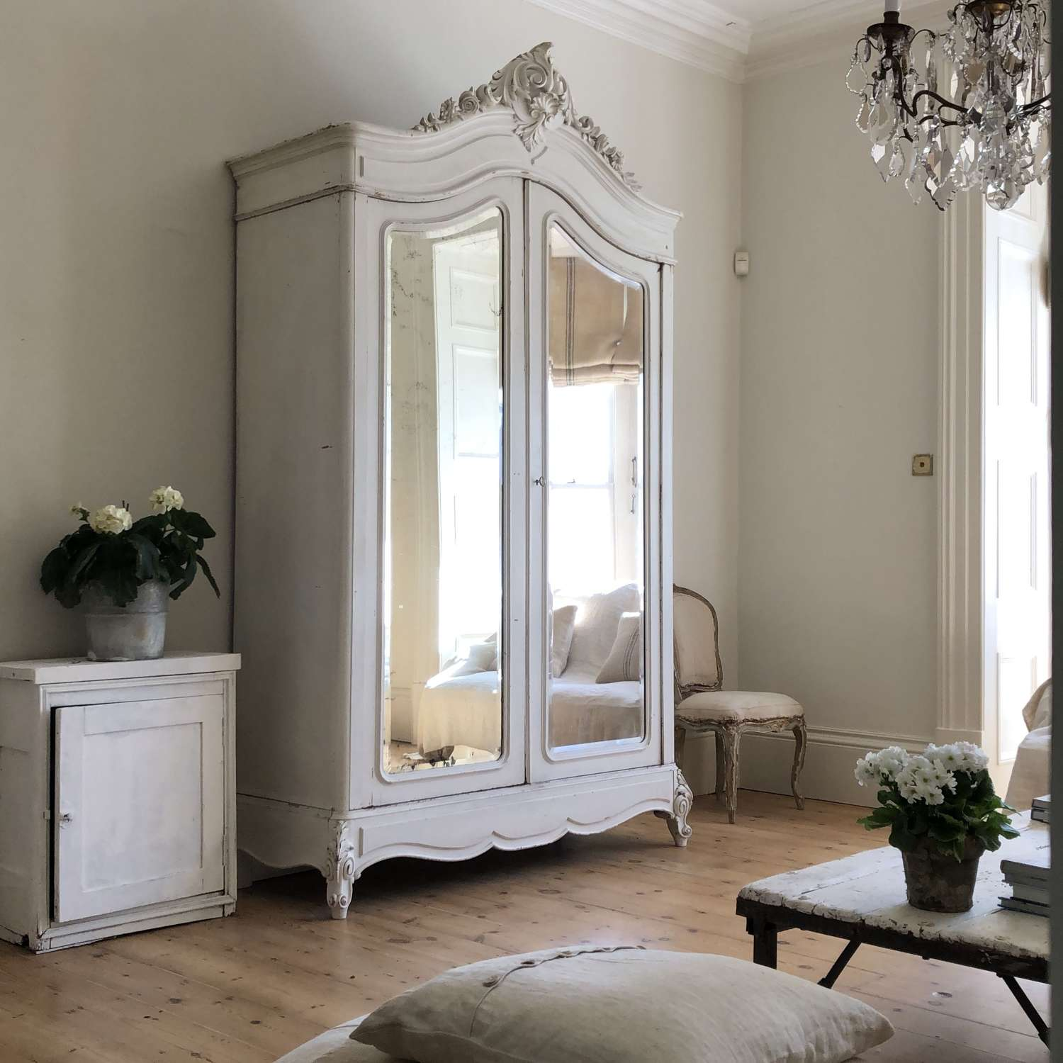 Large antique French armoire wardrobe with hanging rail