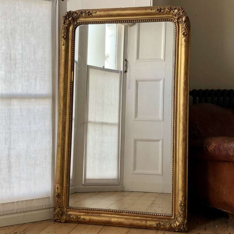 Large antique French gilt mirror Louis Philippe