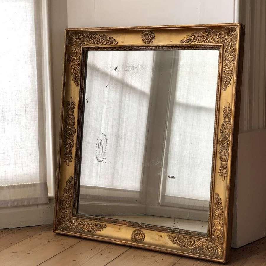 Antique French gilt Empire mirror c1815 - mercury glass
