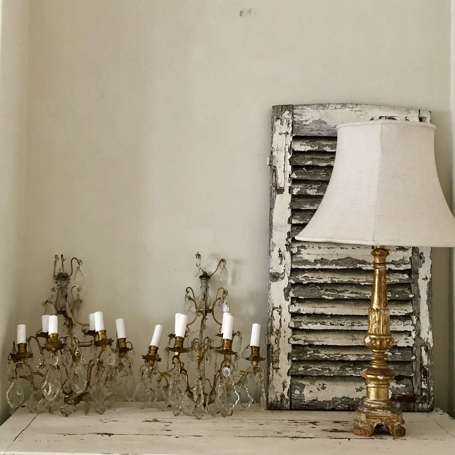 Pair of large antique French wall lights