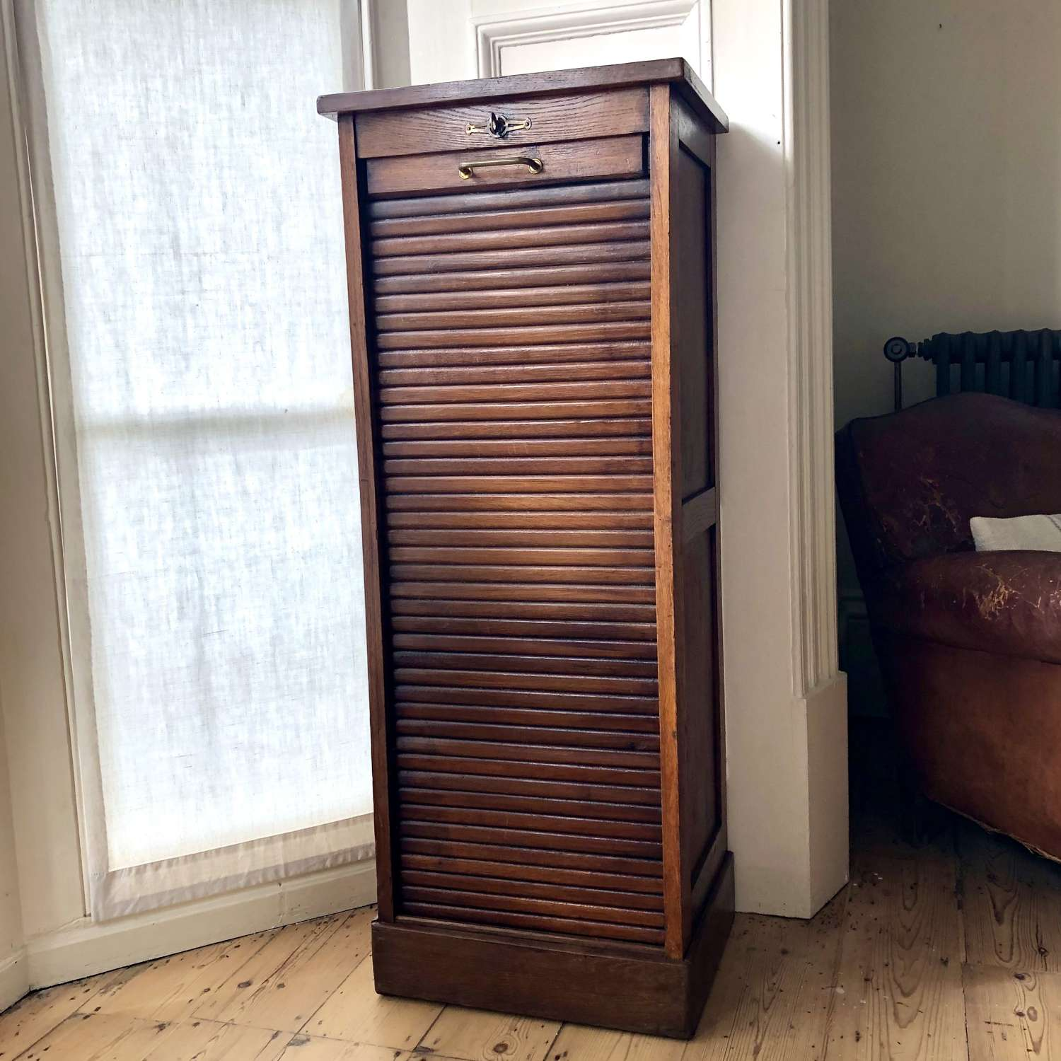 Antique French oak tambour filing cabinet