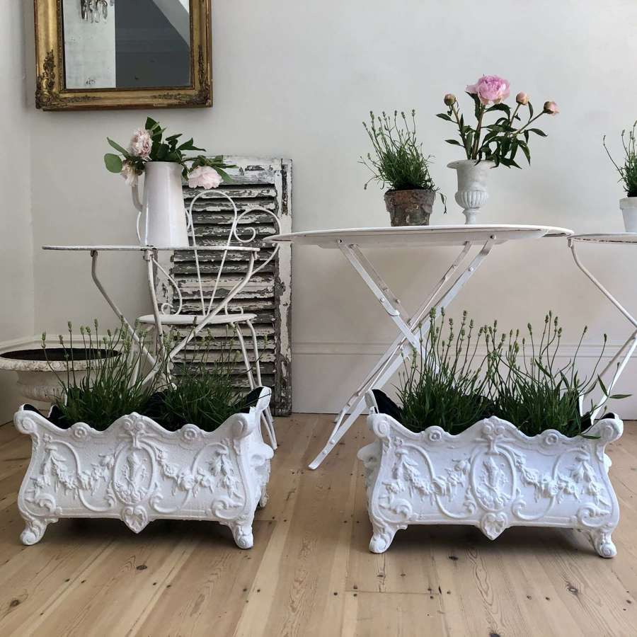 Pair of antique French cast iron planters