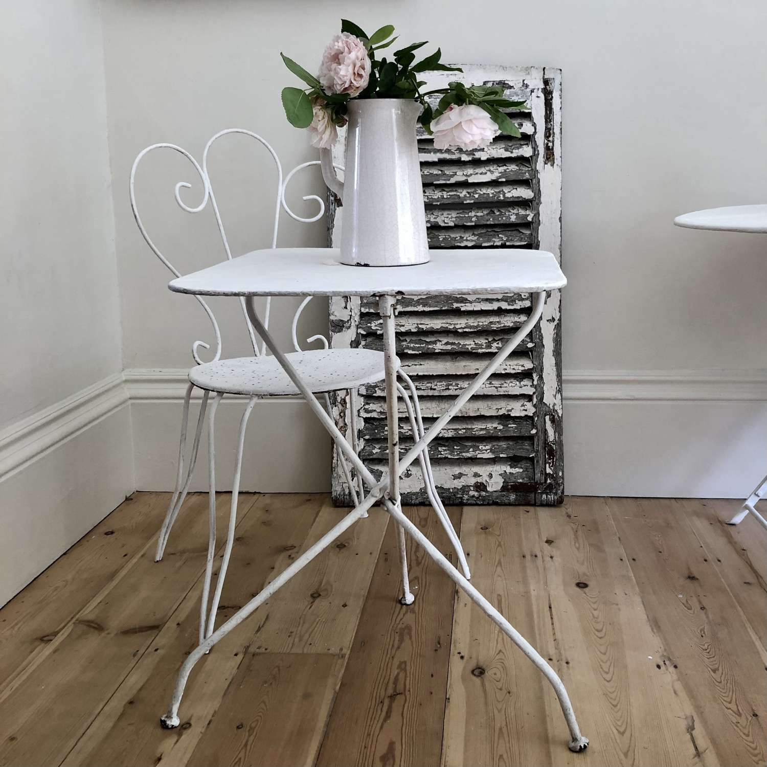Antique French garden bistro table and chair
