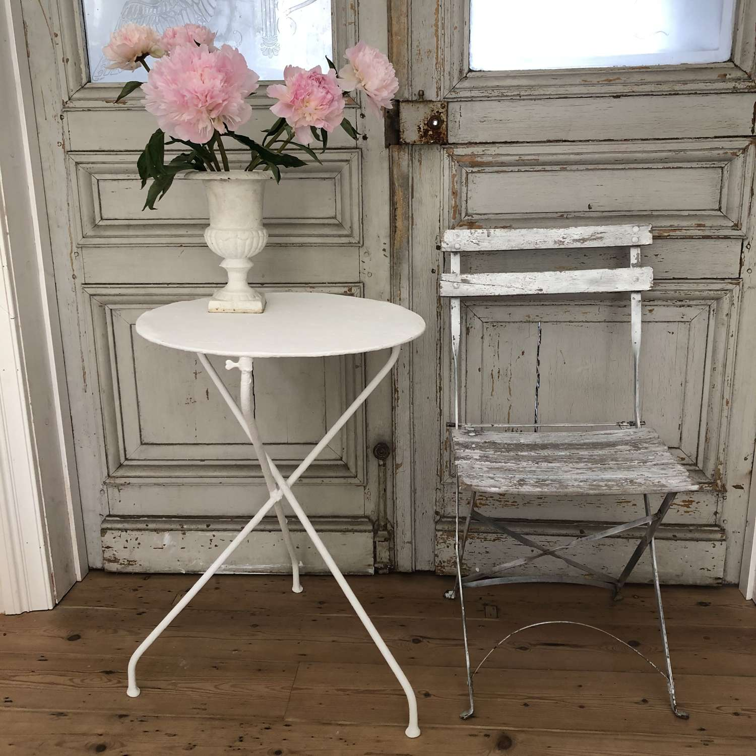 Antique French bistro table and chair