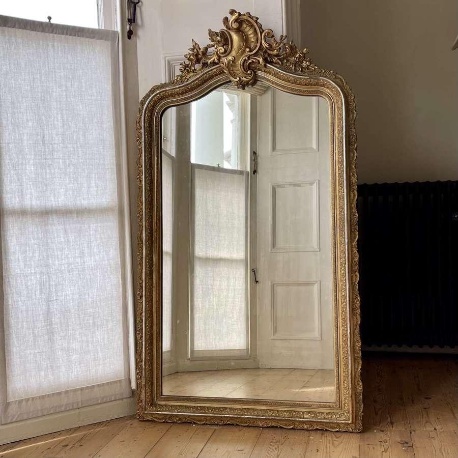 Antique French gilt Louis XV mirror