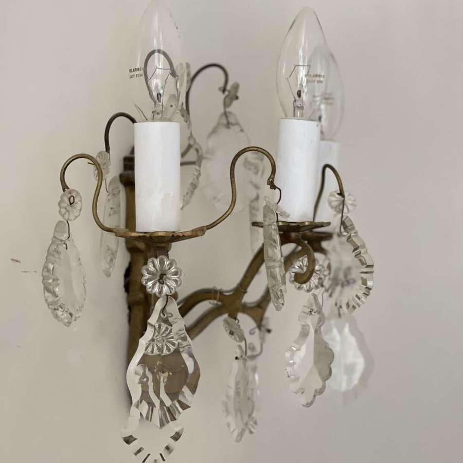 Pair of antique French crystal wall sconces  - rewired