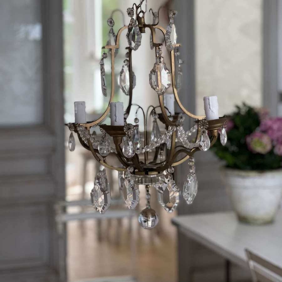 Antique French cage chandelier
