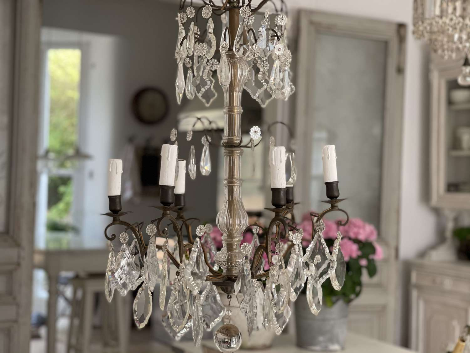 Large antique French crystal 6 arm chandelier