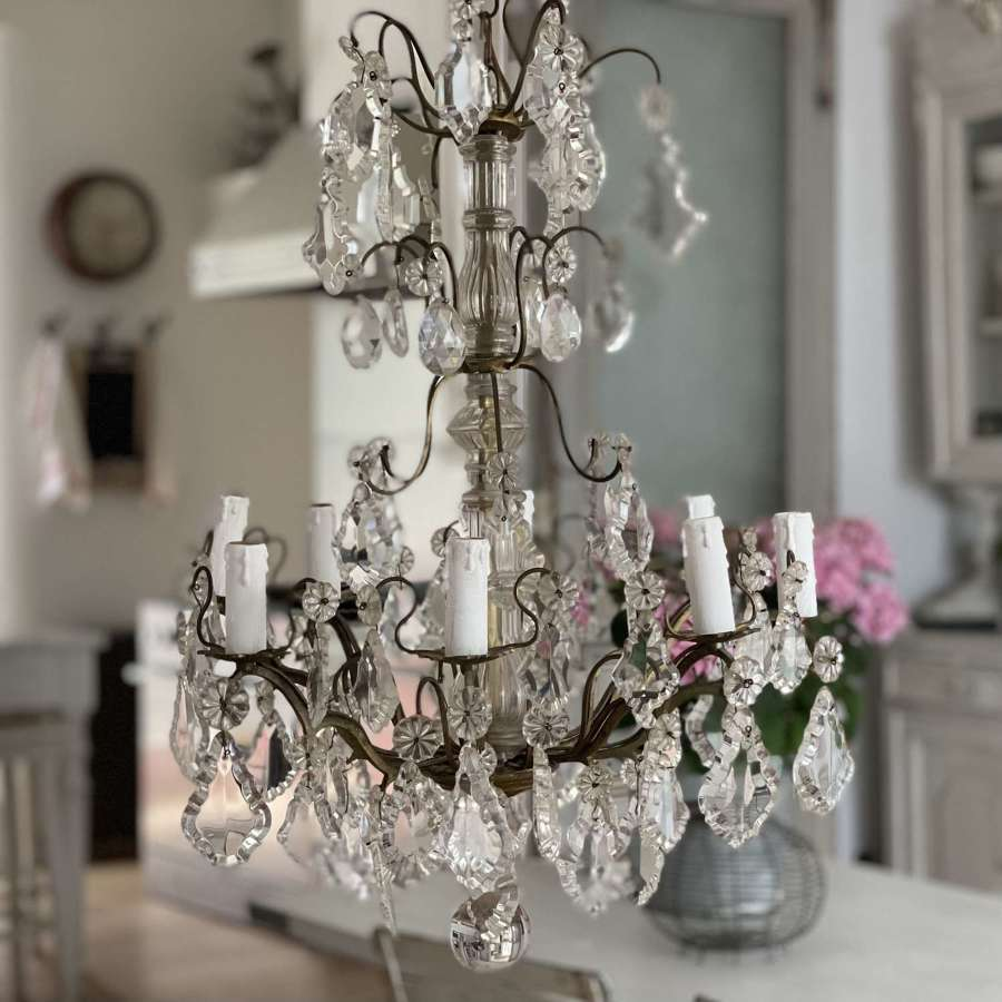 Antique French crystal 8 arm chandelier