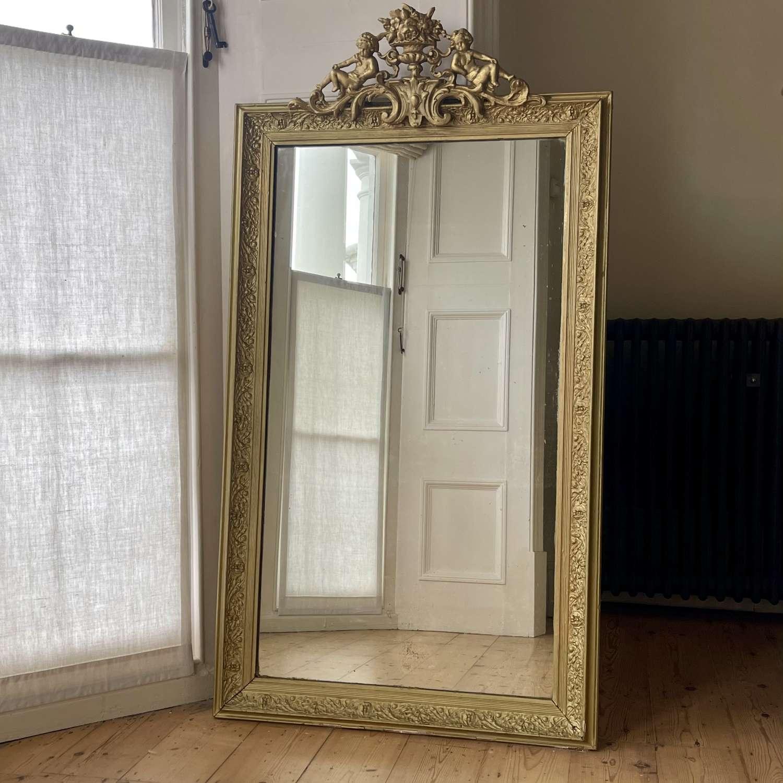 19th century French gilt cherub mirror