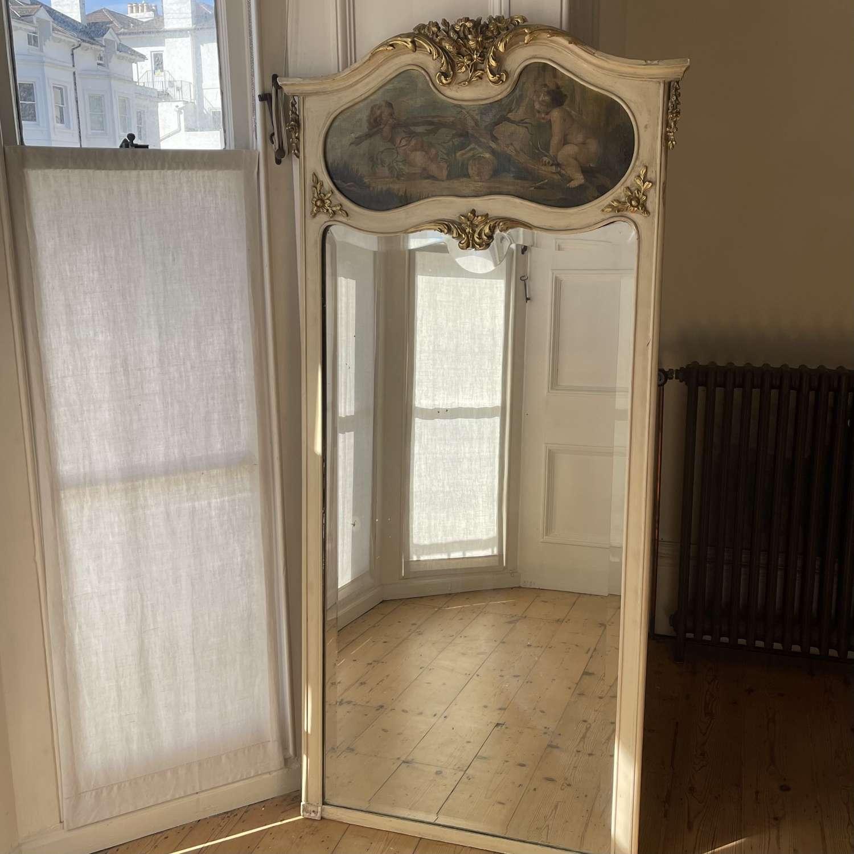 Antique French cherub trumeau mirror - original paint