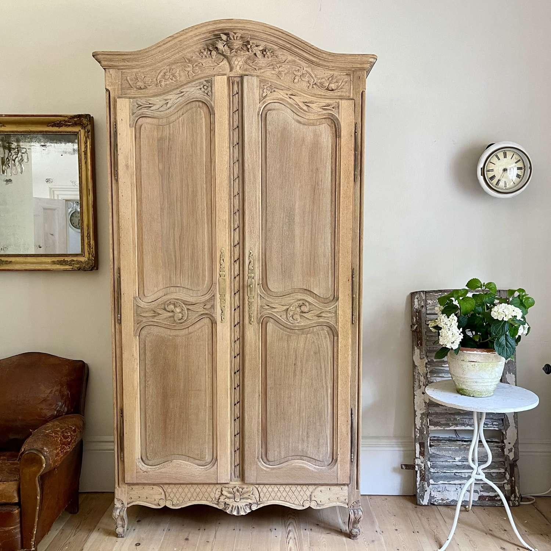 Antique French oak armoire linen press