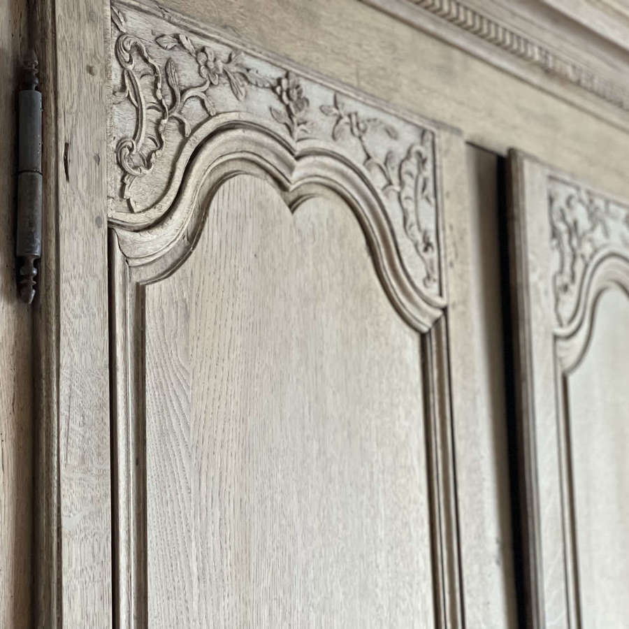 18th century antique French oak armoire linen press with hanging rail