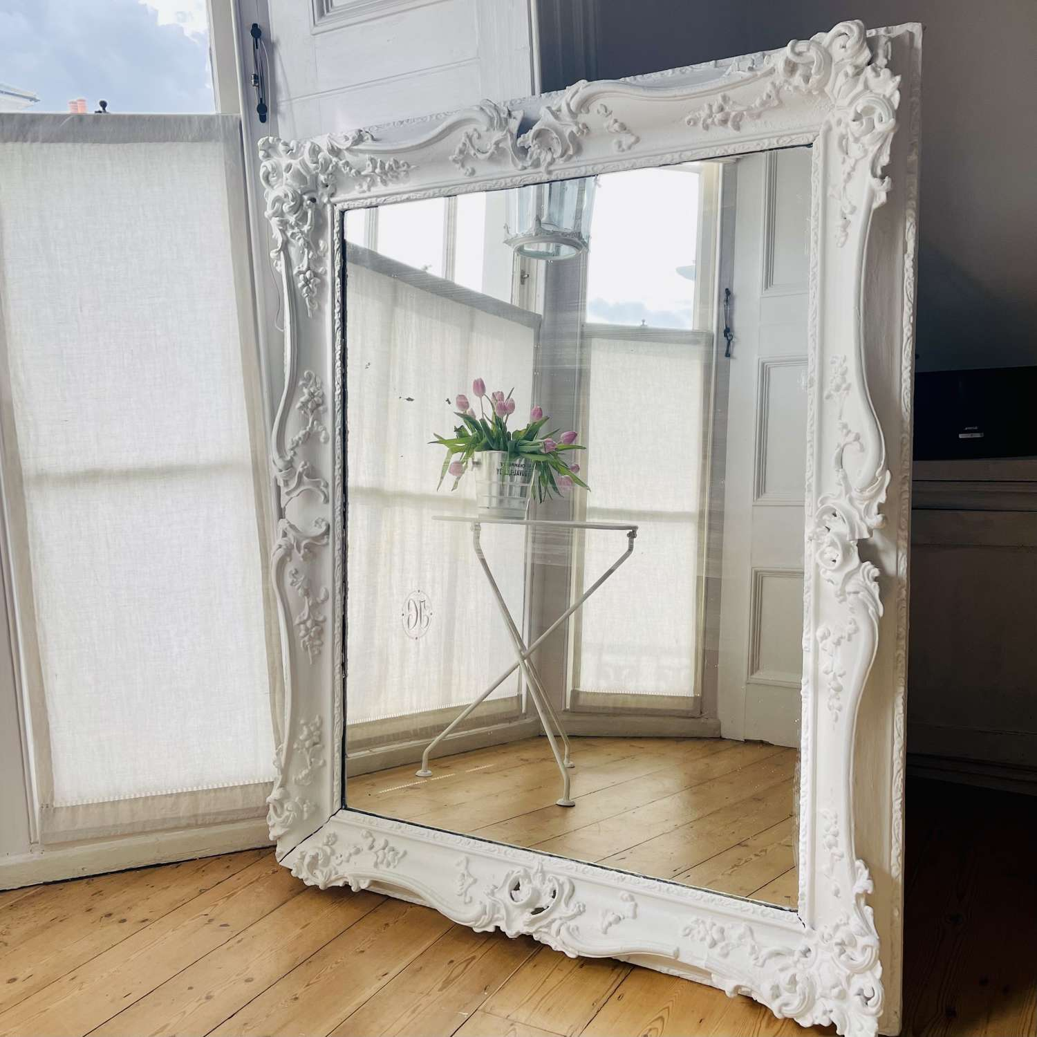 Large antique French Rococo mirror