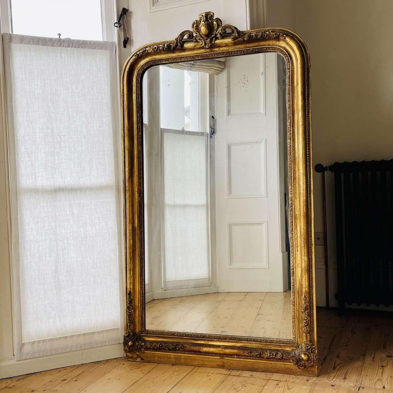 Antique French gilt mirror - mercury glass